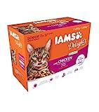 Iams Delights Senior Nassfutter (für ältere Katzen ab 7 Jahre mit viel Huhn in Sauce, Multibox),...