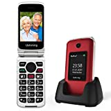 Ushining GSM Seniorenhandy Klapphandy ohne Vertrag, Großtasten Mobiltelefon Einfach mit Ladestation...