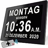 8 Zoll Digitaler Wecker Wanduhr mit 19 Alarme & Fernbedienung , Seniorenuhr Kalender und...
