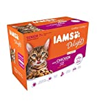 IAMS Delights Senior Katzenfutter Nass - Multipack mit Huhn in Sauce, hochwertiges Nassfutter für...