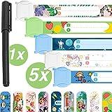 Notfallarmband Set für Kinder · 5 Stück + Stift · Sicherheitsarmband · Wasserfest ·...