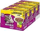 Whiskas 11 + Katzenfutter, Hochwertiges Nassfutter für gesundes Fell, Geflügelauswahl, 4er Pack (4...