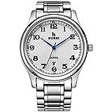 BUREI Klassische Herren Uhren Armbanduhr Japanisches Quarzwerk Kratzfeste Linse Edelstahlband...