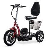 VELECO 3-Räder Elektroroller ZT16 Fahrzeug E-Scooter Seniorenmobile (ROT)