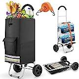 wilbest® Einkaufstrolley, Klappbarer bis 50kg Einkaufswagen Wasserdichter 75L Einkaufstasche...